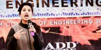Mehak performing at an event at the SSM College of Engineering in north Kashmir's Pattan few weeks ago.